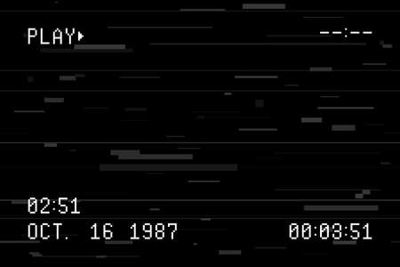 Old video camera screen template. Retro camera viewfinder with glitch effect and random horizontal lines, noise and distortion. Camcorder screen with pixel date, time and other text. Vector.