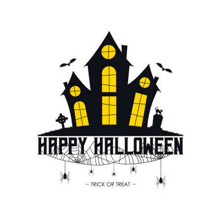 Happy Halloween banner with haunted house, spider web and spiders, gravestone and tombstone on grave, Halloween cat. Vector illustration. Illusztráció