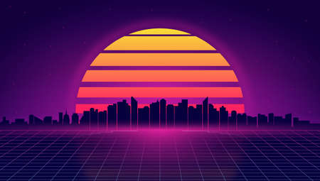 Retro futuristic night cityscape. Retrowave and synthwave style illustration of night city skyline. Retro poster, banner or flyer design in 1980s style. Vector.