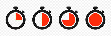 Timer and stopwatch icon set isolated on transparent background. Symbol of countdown timer. Vector illustration.