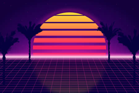 Retro futuristic background with sky and palm trees. Retrowave and synthwave style illustration of tropical sunset and palms. Retro poster, banner or flyer design in 1980s style. Vector.