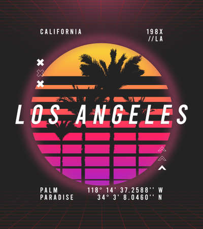 Los Angeles, California t-shirt design in retro futuristic style. Typography graphics for retrowave style tee shirt with sunset and palm trees. Vector illustration. Illusztráció