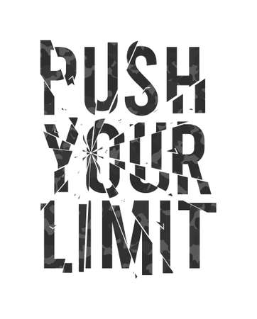Push your limit - slogan for t-shirt design with broken glass effect and camouflage texture. Typography graphics for tee shirt, apparel print with broken glass and camo in military army style. Vector
