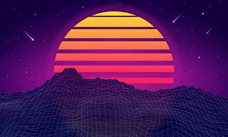 Retro futuristic background with mountains. Retrowave and synthwave style illustration of mountain, sky and shooting stars. Retro poster, banner or flyer design in 1980s style. Vector.
