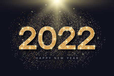 2022 number with golden glitter for New Year. Holiday banner for New Year and Merry Christmas with gold glowing and bright particles. 2022 glister text. Vector illustration.