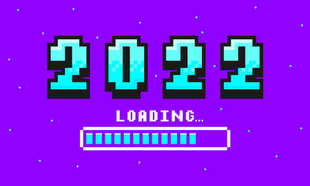 2022 pixel art banner for New Year. 2022 numbers in 8-bit retro games style and loading bar. Pixelated happy New Year and Merry Christmas holiday card or banner. Vector. Illusztráció