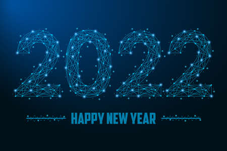 2022 New Year illustration made by points and lines, polygonal wireframe mesh on night sky, dark blue background. Low poly greeting card. Vector.