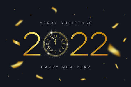 2022 New Year and Merry Christmas banner with gold vintage clock with Roman numerals and golden confetti. Shiny text and clock-face dial with eve for New Year. Vector illustration. Illusztráció