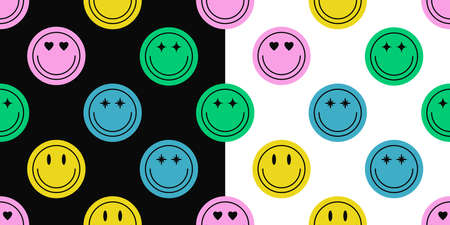 Seamless pattern of different colorful smile face stickers. Smiling happy face icon seamless background. Set of emoticon textures for print product. Vector illustration.