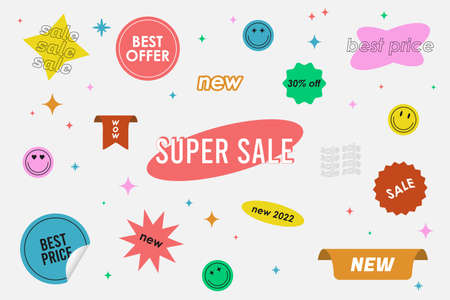 Sale - sticker pack. Special offer or price stickers set. Retro sale tag and promo sticky labels. Vector.