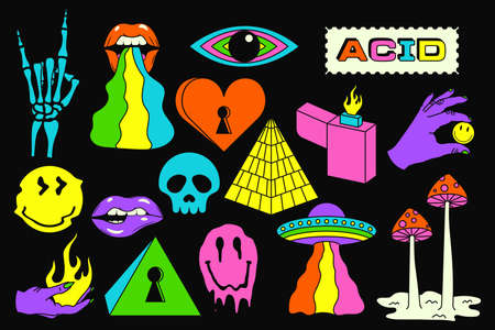 Acid sticker set. Acidic abstract smiles, objects and icons. Funny color pictures in trendy psychedelic style. Vector illustration.