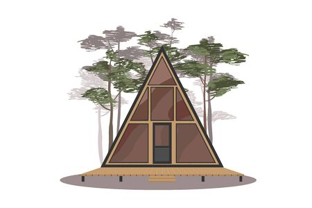 a-frame little house. Cabin in the woods vector illustration