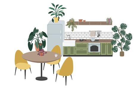 Scandinavian dinner room design. Kitchen modern colorful design. Retro kitchen interior with furniture.