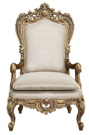 Classic gold baroque armchair isolated on white background.Digital Illustration.3d rendering