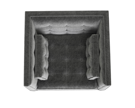 Classic tufted grey armchair isolated on white background.Digital illustration.3d rendering