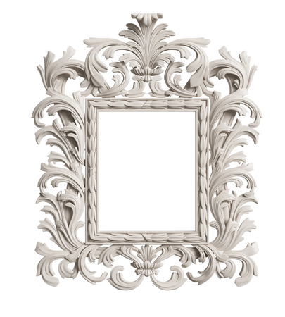 Classic mirror frame on white background.Digital illustration.3d rendering Banque d'images - 97019102