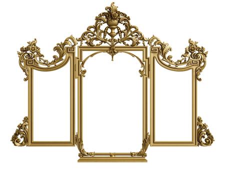 Classic mirror frame on white background.Digital illustration.3d rendering Stock Photo