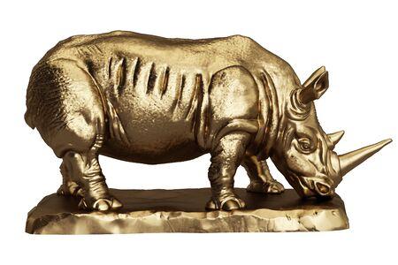 Rhinoceros golden sculpture isolated on white background.Digital Illustration.3d rendering