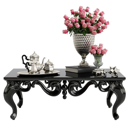 Classic carved table with bouquet of roses and silver coffee set isolated on white background.Digital Illustration.3d rendering