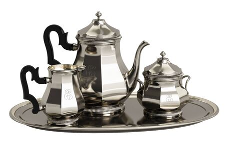 Silver coffee set isolated on white background.Digital Illustration.3d rendering
