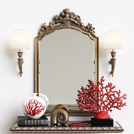Classic mirror with decor in interiror.Digital illustration.3d rendering