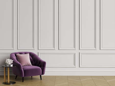 Classic interior with tufted armchair.White walls with mouldings,floor parquet hirringbone.Copy space.Digital illustration.3d rendering