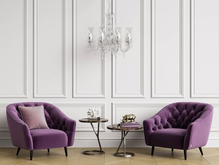 Classic interior with tufted armchairs and crystal chandelier.White walls with mouldings,floor parquet hirringbone.Copy space.Digital illustration.3d rendering
