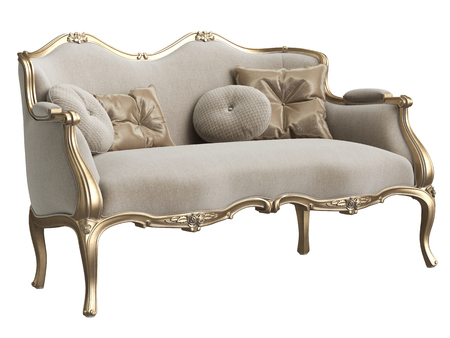 Classic baroque sofa isolated on white background.Digital illustration.3d rendering