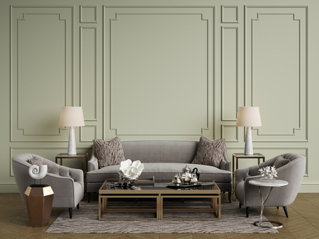 Classic interior.Sofa, chairs, sidetables with lamps, table with decor.White walls with moldings. Floor parquet herringbone, rug with pattern.Mockup, copy space.Digital ilustration.3d rendering
