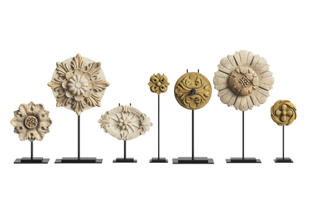 Carved flowers decor isolated on white background.Digital illustration.3d rendering