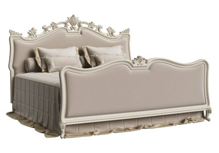 Classic bed isolated on white background.Digital illustration.3d rendering Stock Photo
