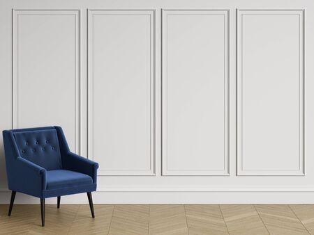 Klassischer Stuhl im klassischen Innenraum mit Kopienraum. Weiße Wände mit Formteilen. Bodenparkett-Fischgrätenmuster Wiedergabe Digital Illustration.3d