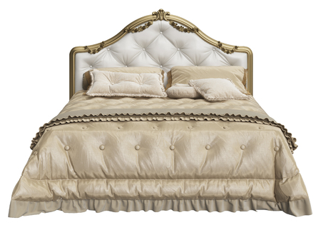 Classic bed with carved haedboard isolated on white background.Digital illustration.3d rendering