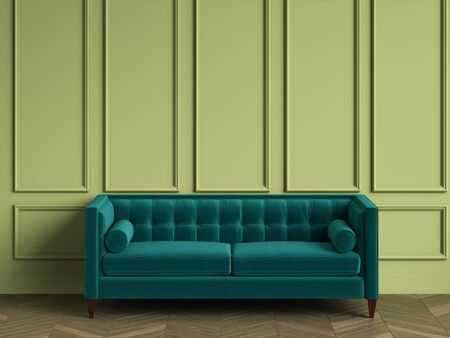 Tufted blue  armchair in classic interior with copy space.Green walls with mouldings. Floor parquet herringbone.Digital Illustration.3d rendering