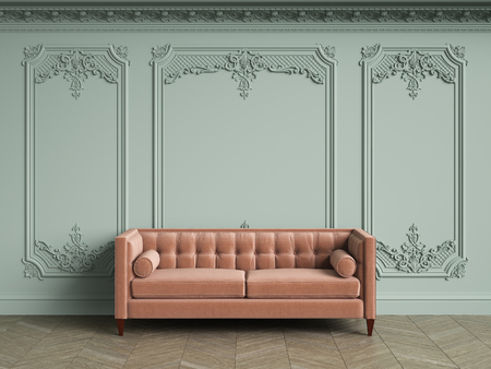 Pink tufted sofa in classic vintage interior with copy space.Pale olive walls with moldings and decorated cornice. Floor parquet herringbone.Digital Illustration.3d rendering