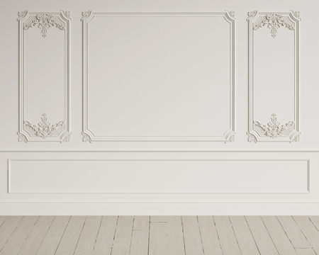 Classic interior wall with mouldings.Digital illustration.3d rendering Stock fotó - 98043861