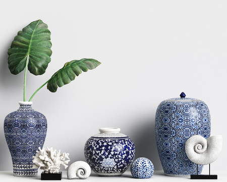 Interior decor mockup with chinese ginger jars and corals.Digital illustration.3d rendering Banque d'images - 98043871