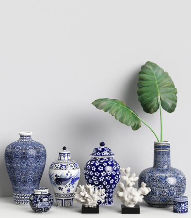 Interior decor mockup with chinese ginger jars and corals.Digital illustration.3d rendering Banque d'images - 98043597