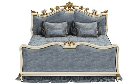 Classic bed on white background 3d rendering Stock Photo