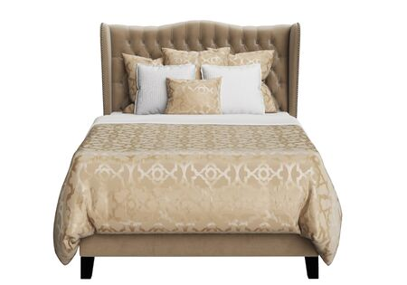 Classic Tufted Bed on white background 3d rendering