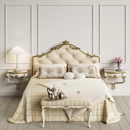 Classic bedroom interior 3d rendering Stock Photo