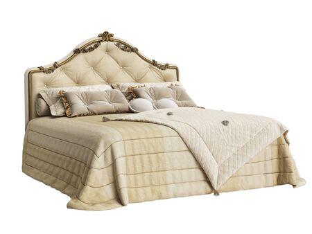 Classic bedroom furniture on white background.Digital illustration. 3d rendering Stock Photo