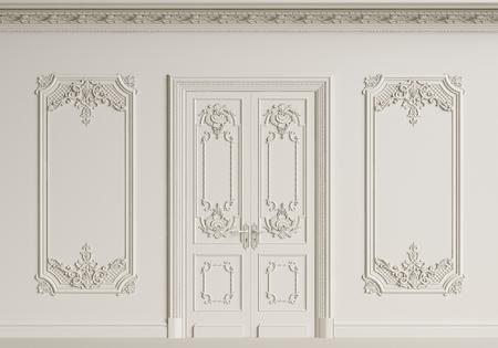 Classic interior wall. Moldings,ornated cornice,door.Digital illustration.3d rendering