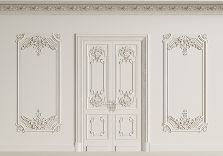 Classic interior wall. Moldings,ornated cornice,door.Digital illustration.3d rendering