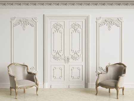Classic baroque armchais in classic interior. Walls wth moldings and decorated cornice.Marble floor.Digital illustration.3d rendering