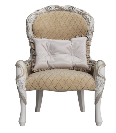 Classic chair isolated on white background.Digital illustration.3d rendering