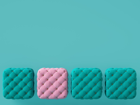 1 pink pouf among blue ones on blue background with copy space. Interior mockup. Digital illustration. 3d rendering
