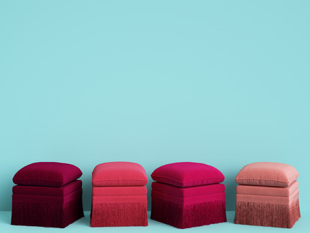 4 poufs in different pink colors in blue room with copy space. Interior mockup. Digital illustration. 3d rendering Stock Photo