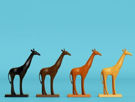 4 giraffe sculptures on blue background with copy space.Minimal concept.Digital illustration. 3d rendering