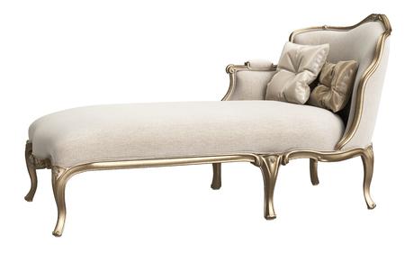 Classic chaise longue isolated on white background. Gilded woodcarving ,beige velvet,silk pillows. Digital illustration. 3d rendering